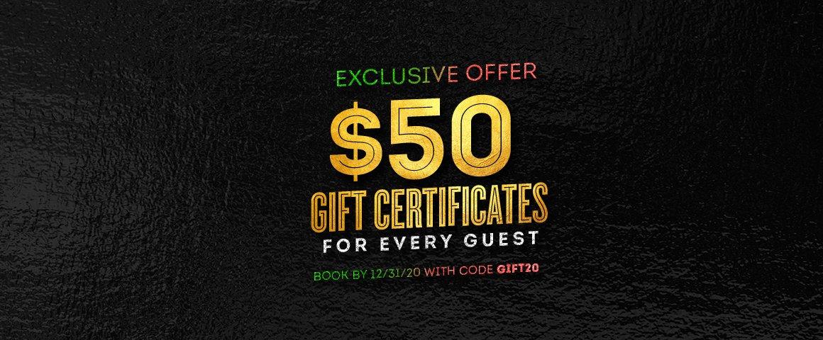 $50 Gift Certificate Promo Banner
