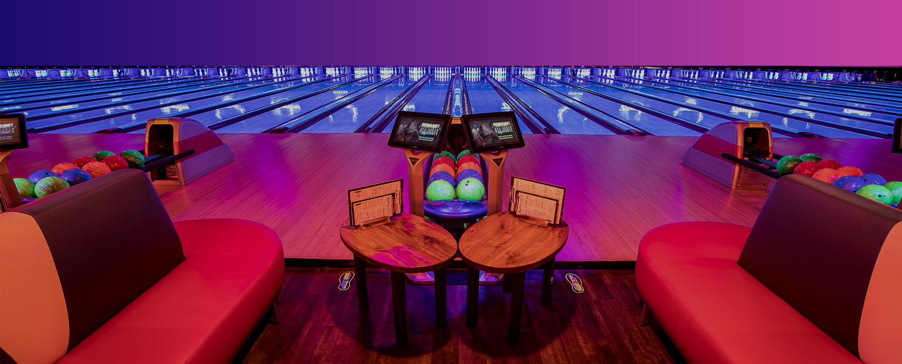bowling lanes and seats