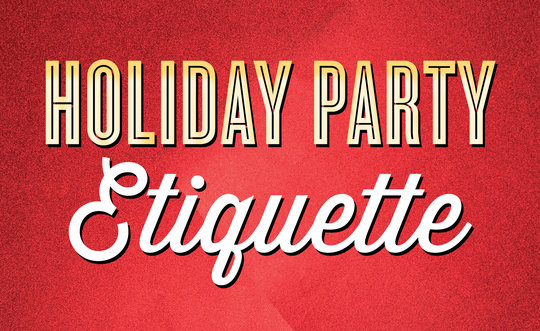 'Holiday Party Etiquette' written out on red foil