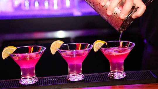 three ruby rose mixed drinks