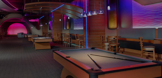 Pool tables and chairs with tables