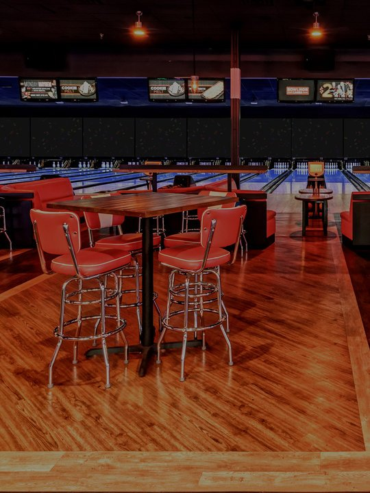 dining area facing bowling lanes