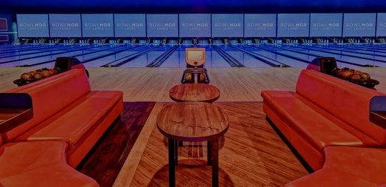 Front view of bowling lanes and couches