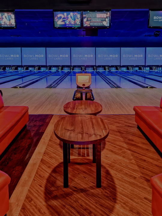 front view of bowling lanes