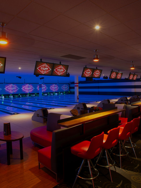 lanes with bar stools in back