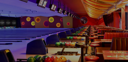Bowling lanes and seating
