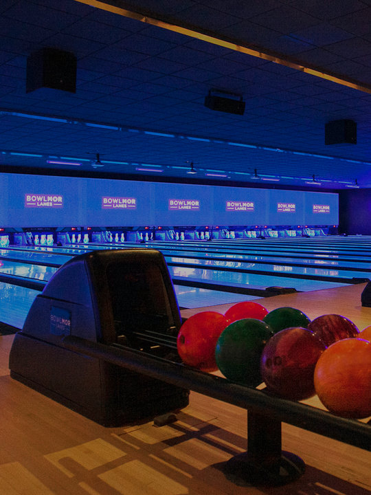 bowling lanes and ball return