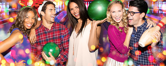 holiday stylized image of cowokers with bowling balls