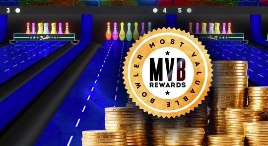 mvb rewards logo on the lanes in front of stacks of coins