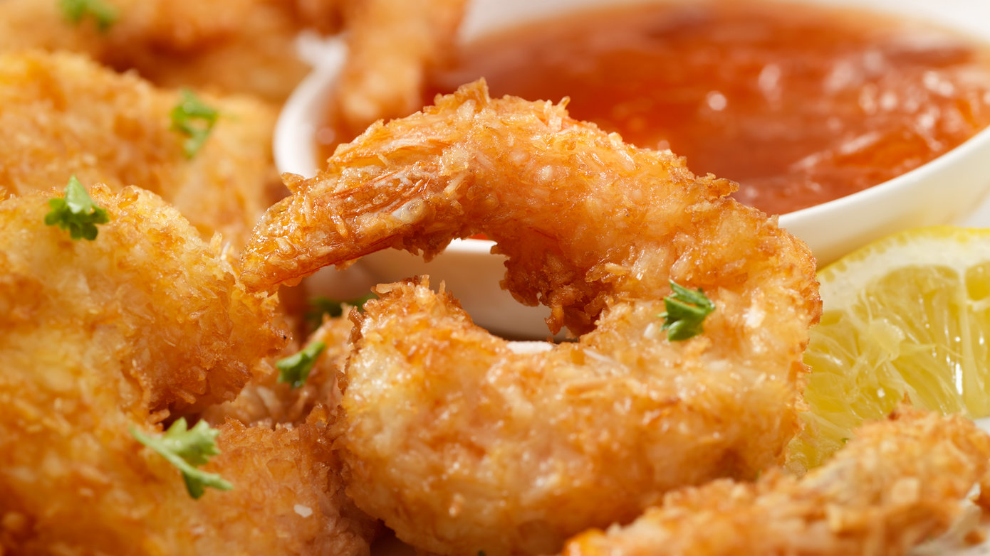 Close-up of coconut shrimp