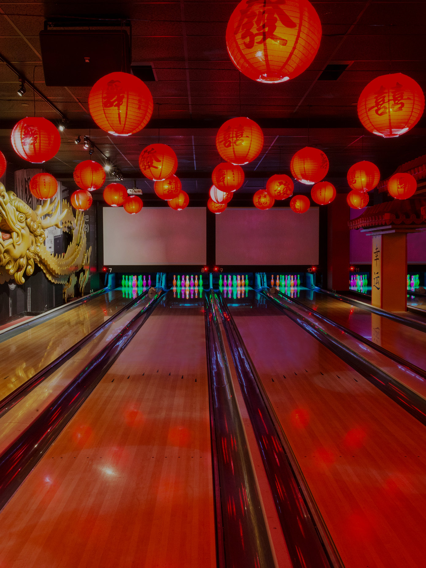 chinatown-inspired bowling lanes
