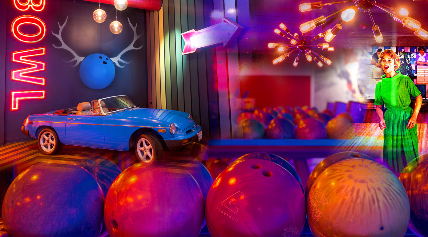Photo collage of bowling balls, a vintage car, neon Bowl sign, and other bowling elements